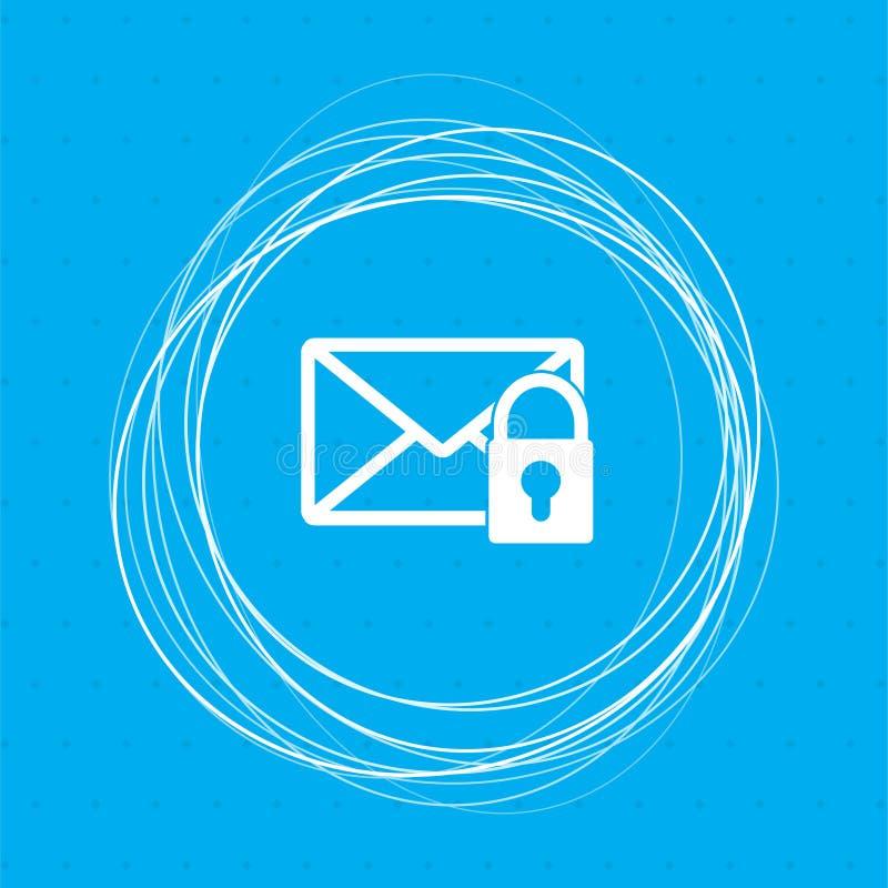 Icône secrète de courrier sur un fond bleu avec les cercles abstraits autour de et l'endroit pour votre texte illustration de vecteur