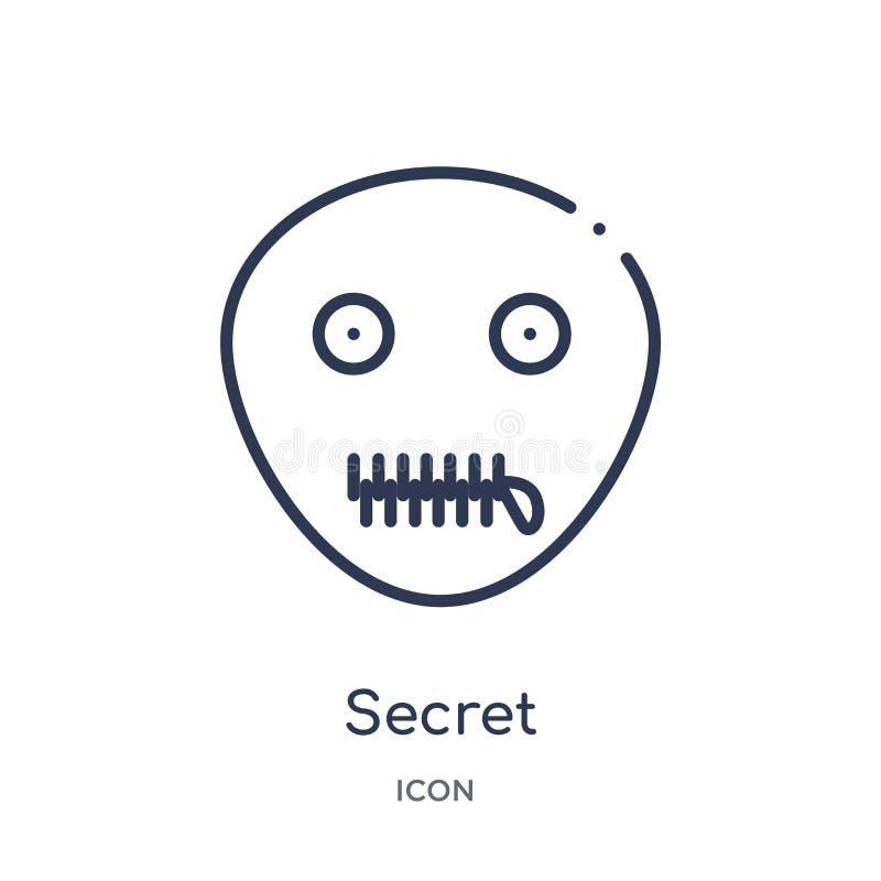 Icône secrète linéaire de collection d'ensemble d'émotions Ligne mince vecteur secret d'isolement sur le fond blanc à la mode sec illustration de vecteur