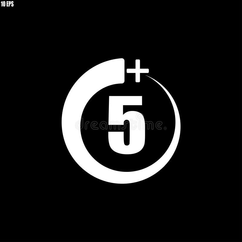 5+ icône, signe Ic?ne de l'information pour la limite d'?ge - illustration de vecteur illustration libre de droits
