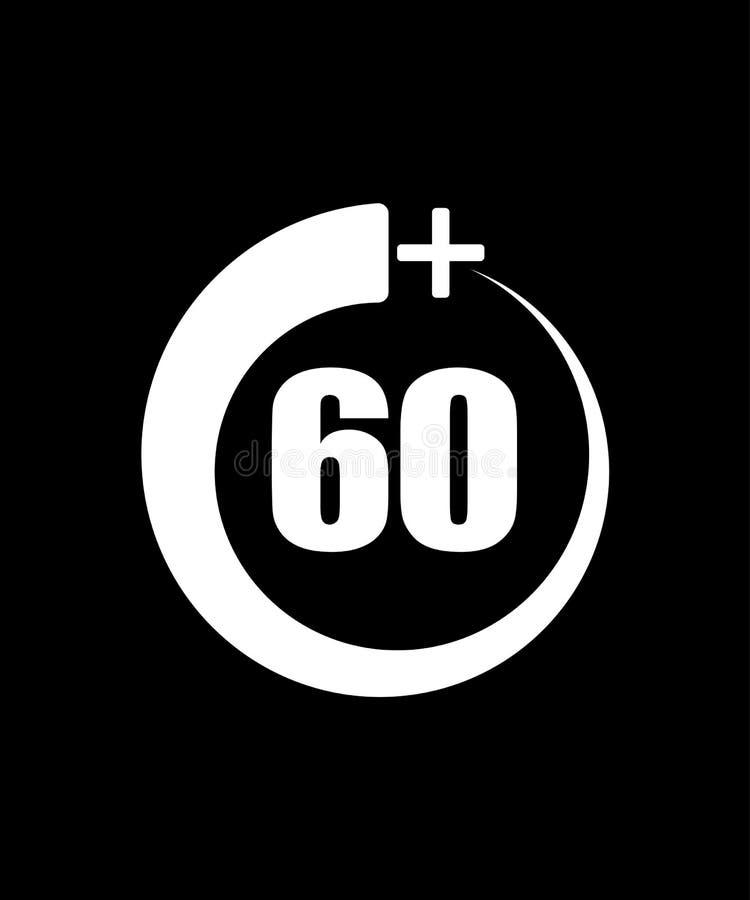 60+ icône, signe Ic?ne de l'information pour la limite d'?ge - illustration de vecteur illustration libre de droits
