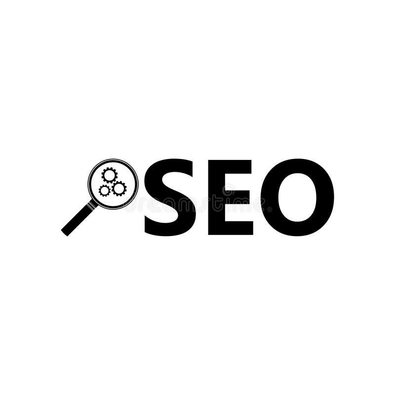 Icône, signe ou logo des textes de SEO illustration de vecteur