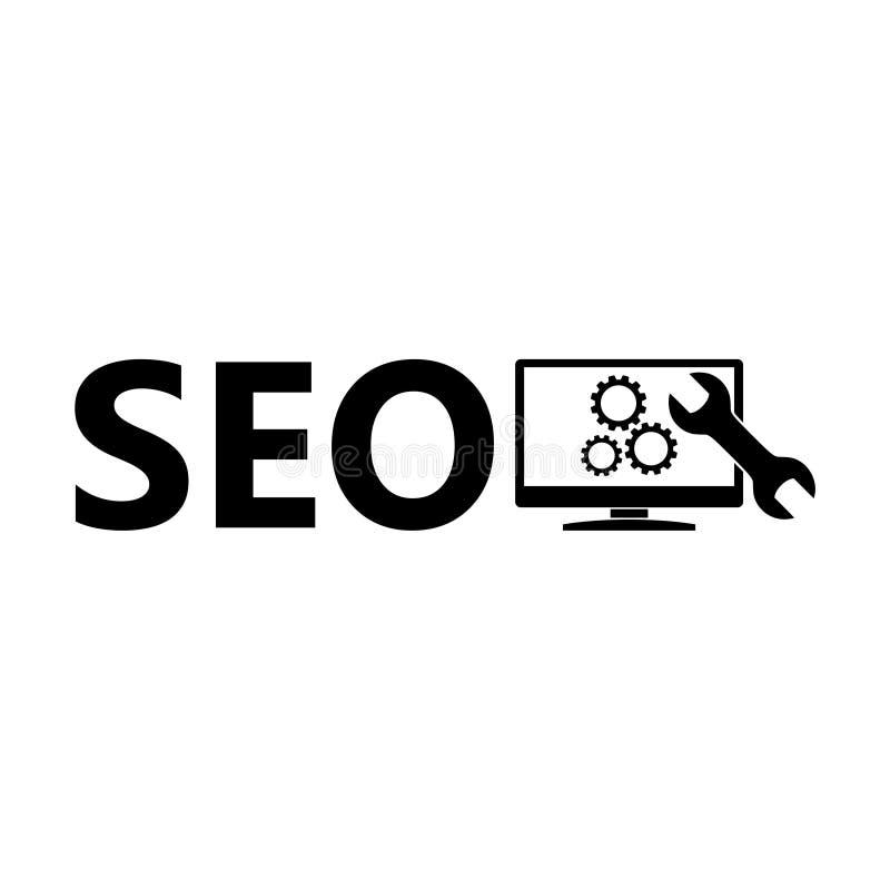Icône, signe ou logo des textes de SEO illustration stock
