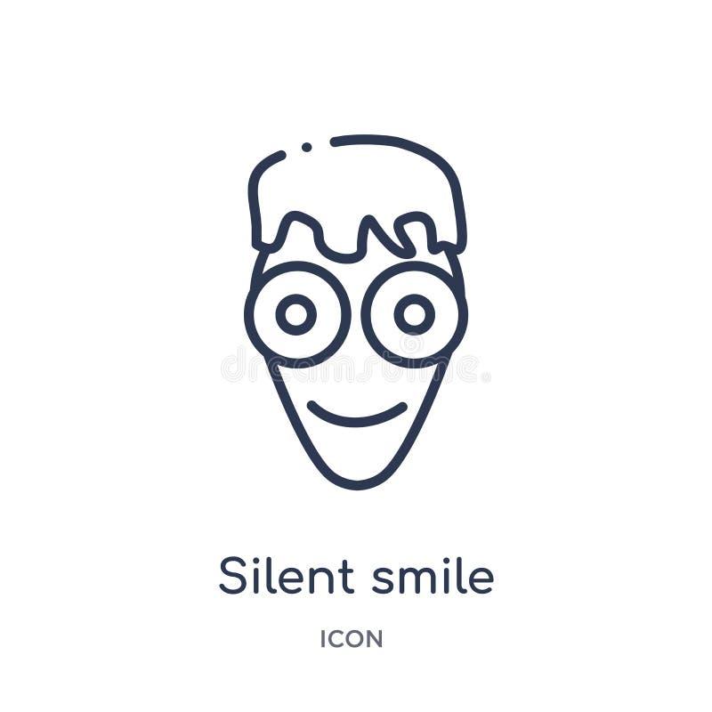 Icône silencieuse linéaire de sourire de collection d'ensemble d'Emoji Ligne mince vecteur silencieux de sourire d'isolement sur  illustration libre de droits