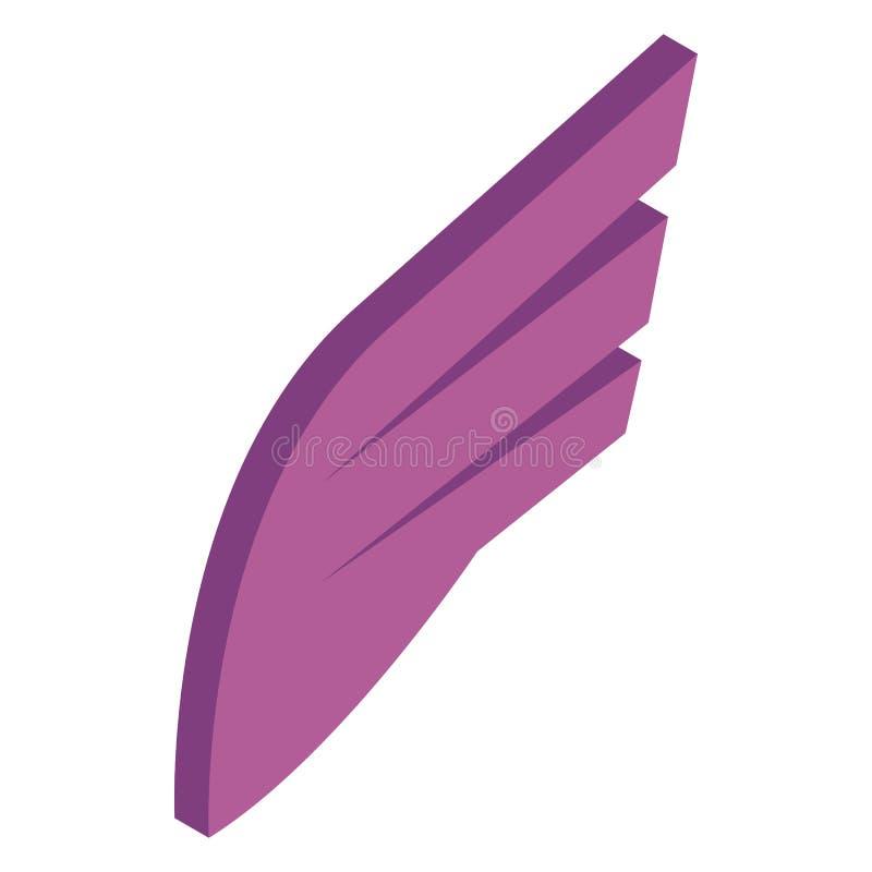 Icône simple d'aile de prune, style 3d isométrique illustration stock
