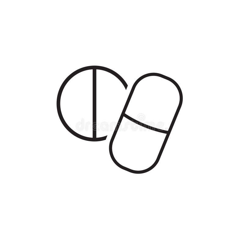 Icône simple d'aspirin, de drogue, ou de pilules de médecine Ic?ne lin?aire plate illustration de vecteur