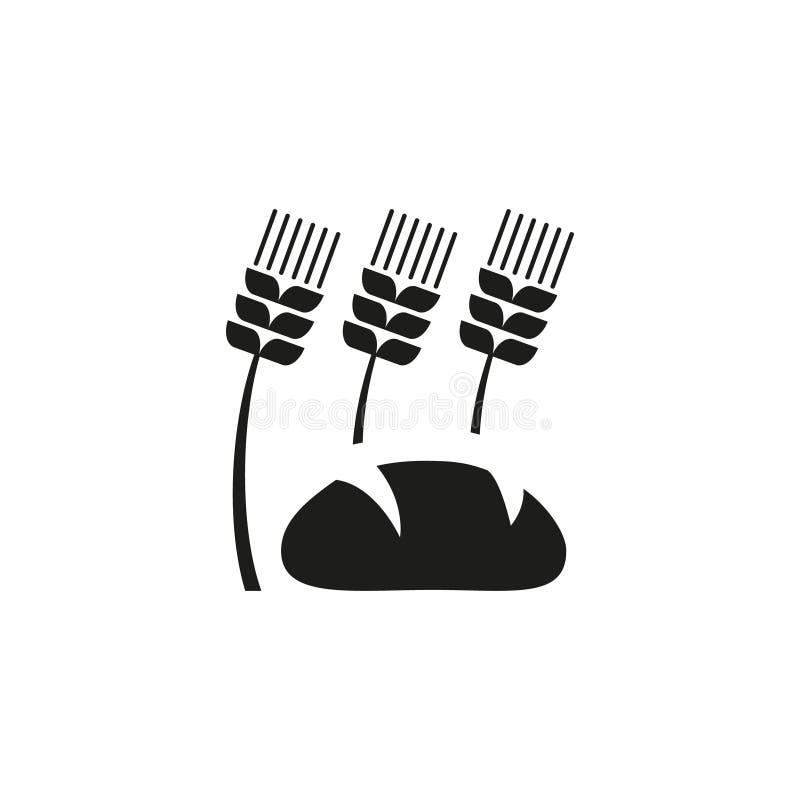 Icône simple d'ensemble de vecteur des oreilles du blé et du pain illustration stock