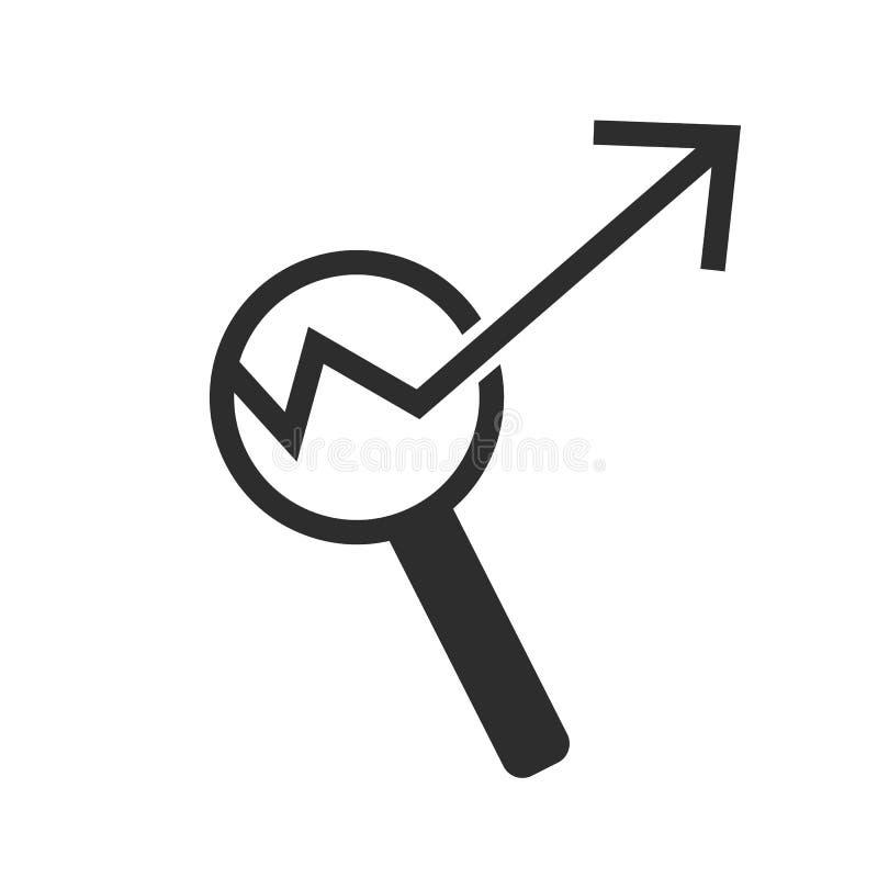 Icône simple de diagramme Rapportez la loupe de connexion de graphique ou de croissance de ventes Symbole de données d'analyse et illustration de vecteur