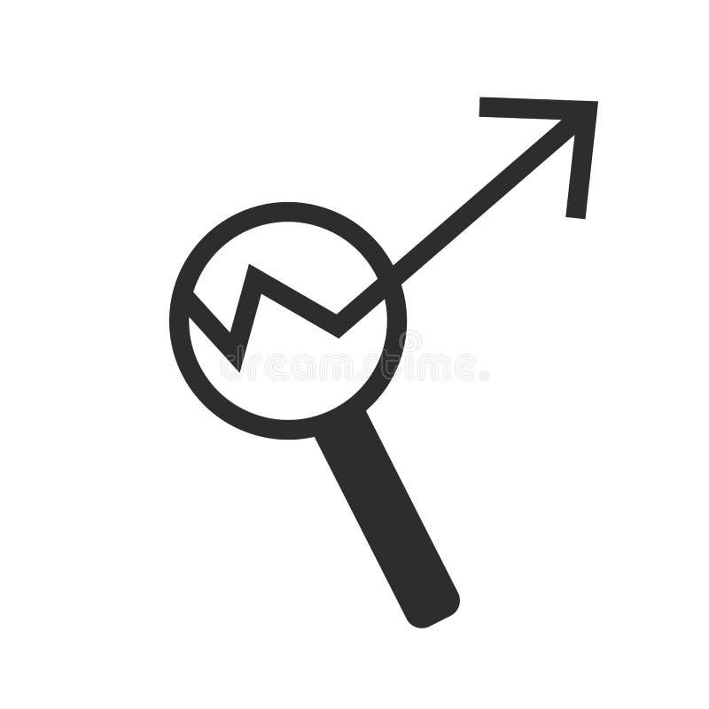 Icône simple de diagramme Rapportez la loupe de connexion de graphique ou de croissance de ventes Symbole de données d'analyse et illustration stock