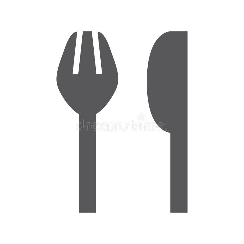 Icône simple de fourchette et de couteau illustration de vecteur