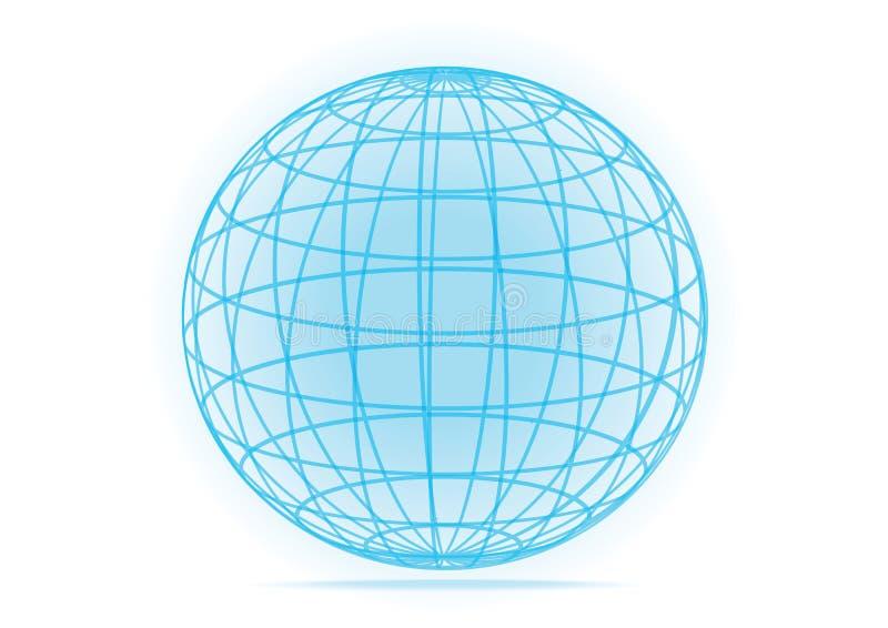 Icône simple de globe de la terre de grille de vecteur illustration libre de droits