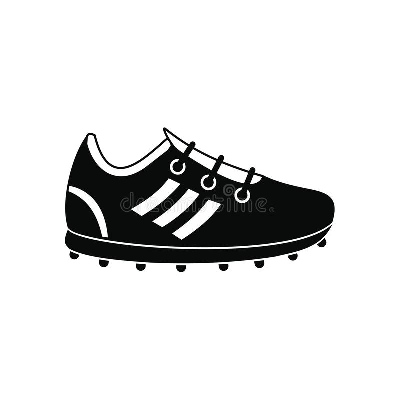 Icône simple de noir de chaussures du football illustration de vecteur