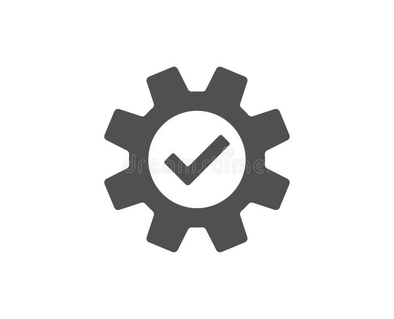 Icône simple de roue dentée Signe approuvé de service illustration stock