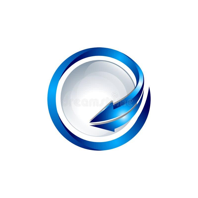 Icône simple de silhouette de globe de la terre de planète avec la grande flèche autour illustration stock