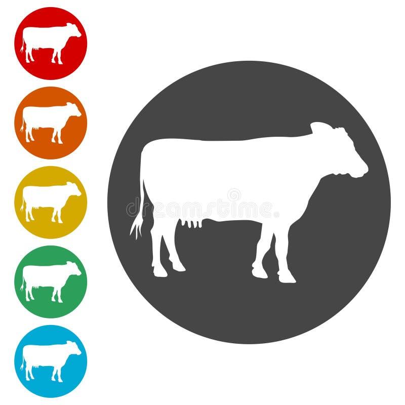 Icône simple de silhouette de vache illustration stock
