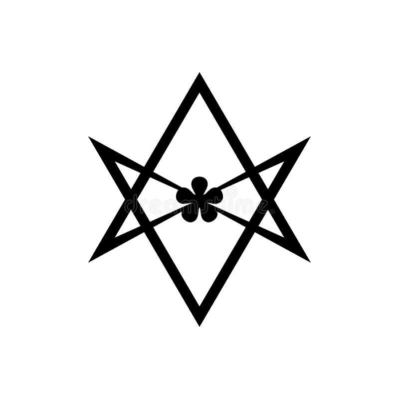 Icône simple de symbole religieux unicursale de hexagram de Thelema illustration libre de droits