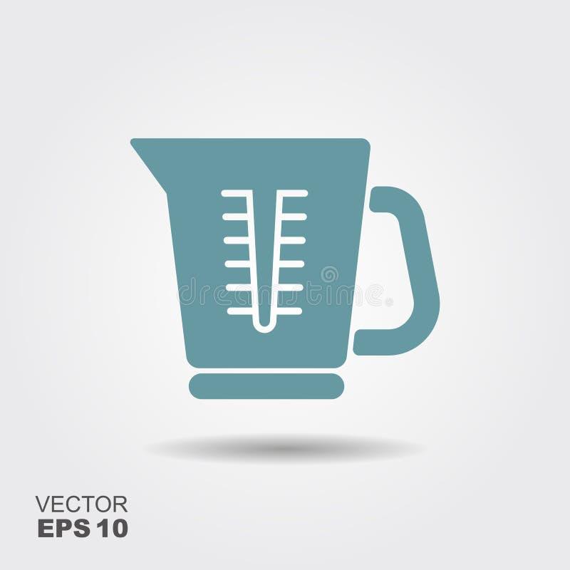 Icône simple de tasse de mesure de vaisselle de cuisine dans le style plat illustration de vecteur