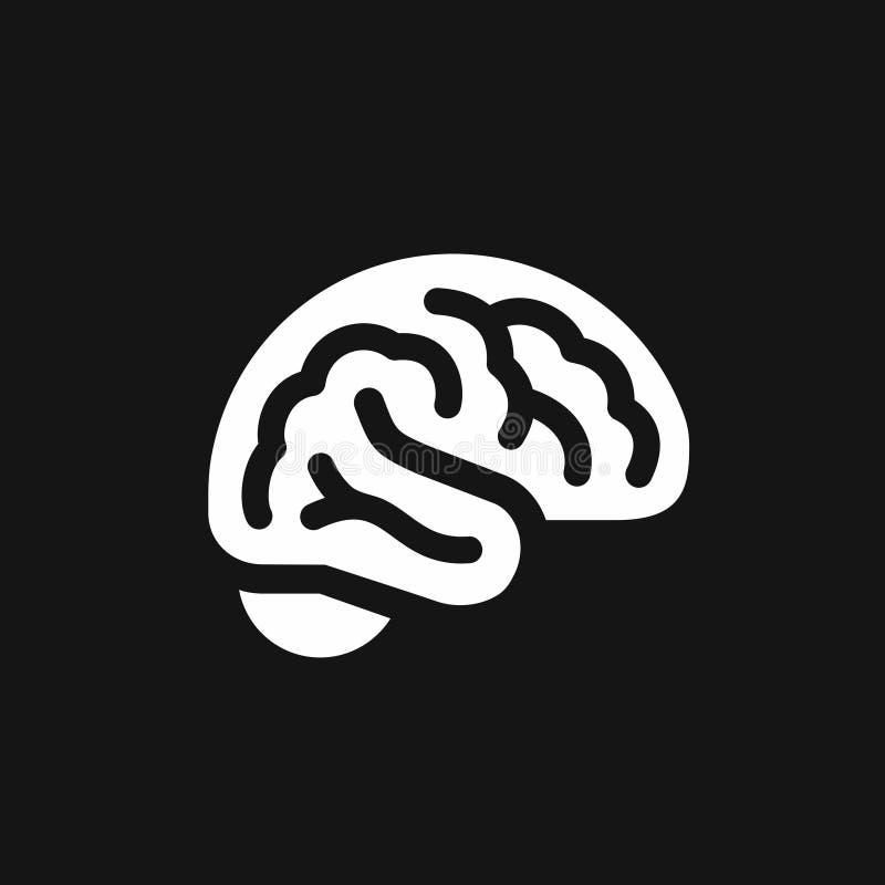 Icône simple de vue de côté de cerveau, symbole d'intellect illustration libre de droits