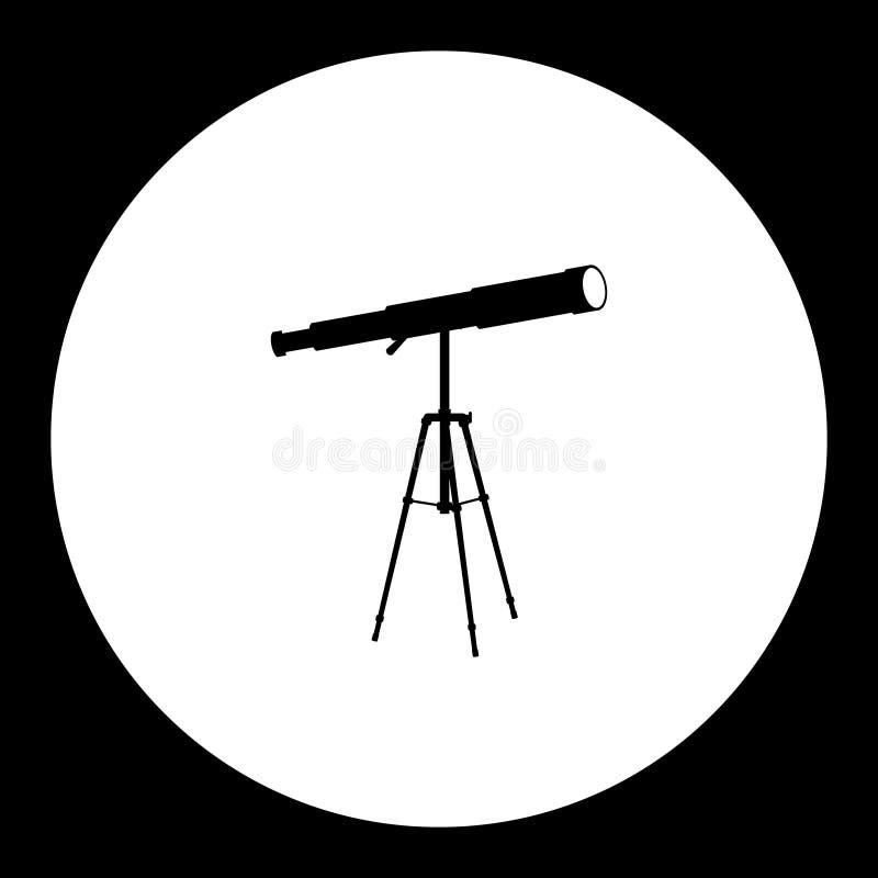 Icône simple eps10 de noir de silhouette de télescope d'astronome illustration stock
