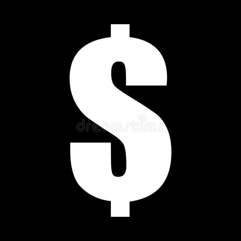 Icône simple et noire et blanche de symbole dollar blanc sur un fond noir illustration de vecteur