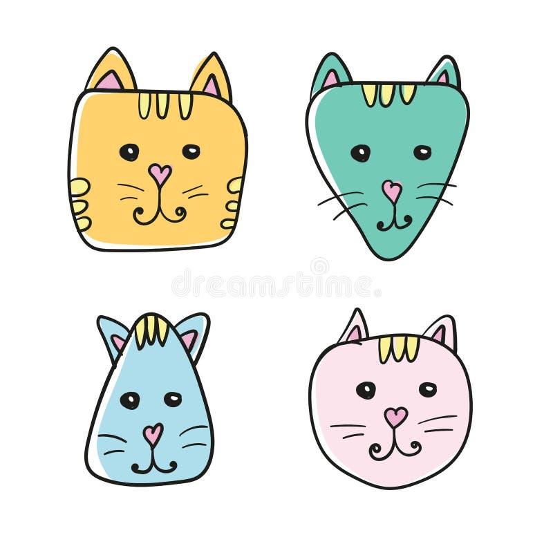Icône simple et tirée par la main de visage de chat de bande dessinée Quatre variations de couleur sur le blanc illustration libre de droits