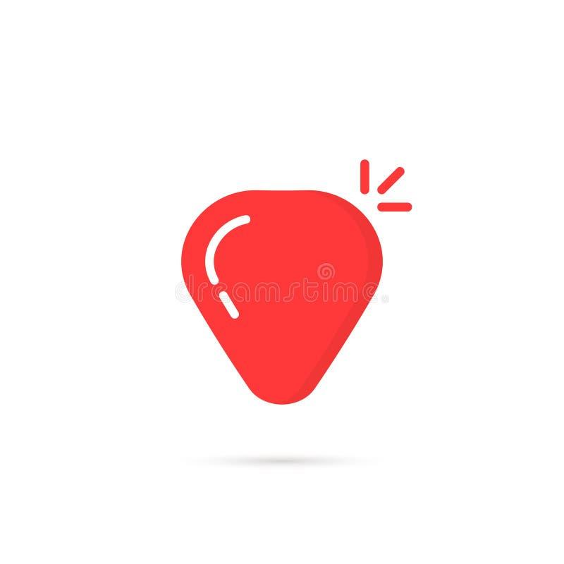 Icône simple rouge de sélection de guitare avec l'ombre illustration libre de droits