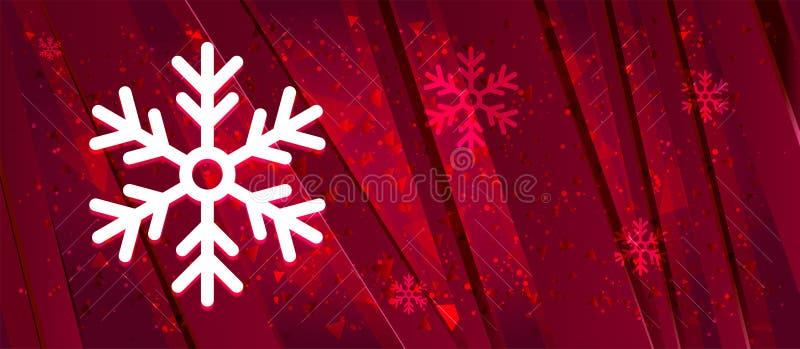 Icône Snowflake Design abstrait bannière rouge vif arrière-plan illustration stock