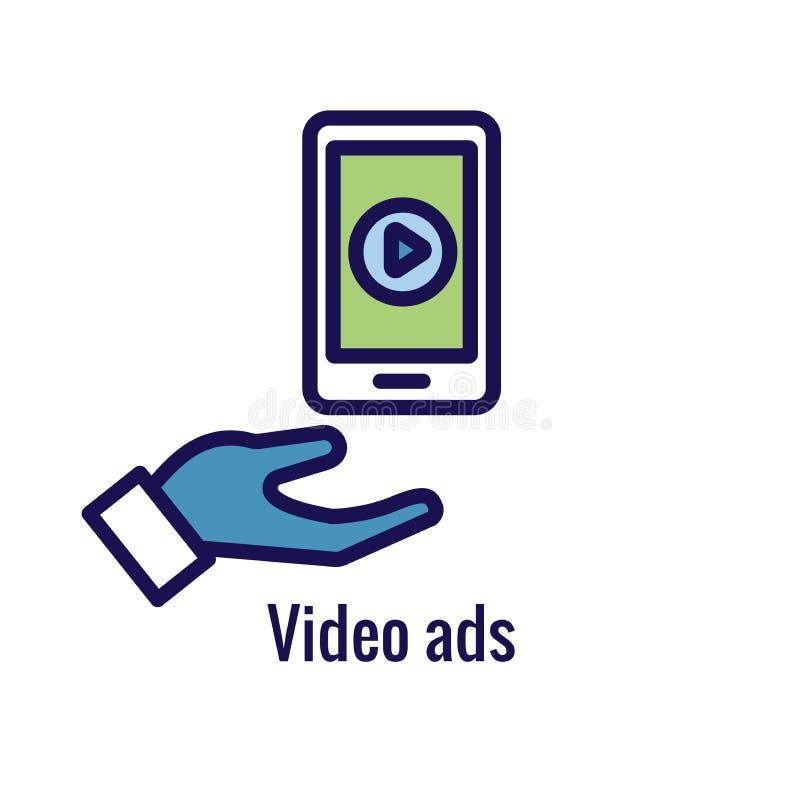 Icône sociale d'annonces de médias avec des images de la publicité, y compris l'engagement social illustration libre de droits
