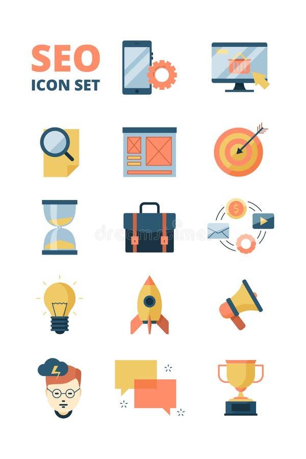 Icône sociale de media Le Web de promotion annonçant des symboles de démarrage d'affaires et de seo de vente d'email de médias di illustration stock