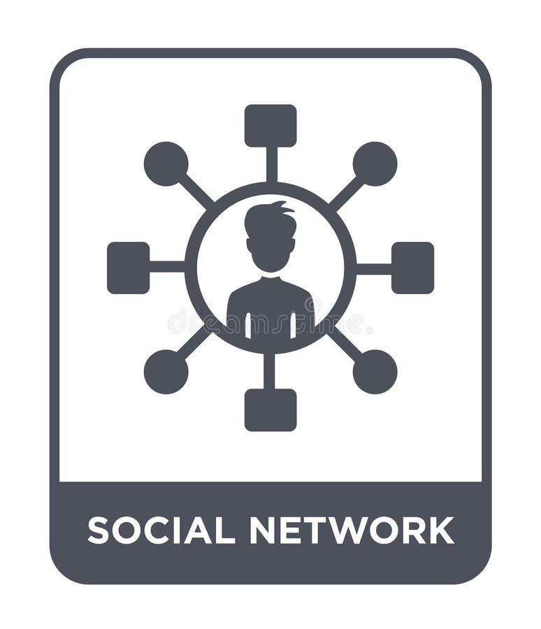 icône sociale de réseau dans le style à la mode de conception icône sociale de réseau d'isolement sur le fond blanc icône sociale illustration stock