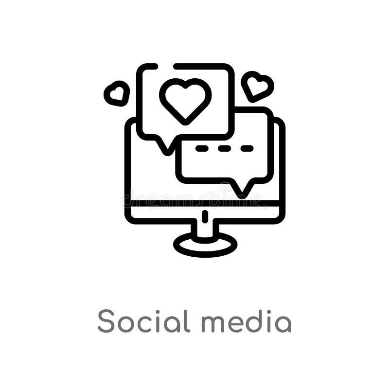 icône sociale de vecteur de médias d'ensemble ligne simple noire d'isolement illustration d'élément de concept numérique d'économ illustration stock
