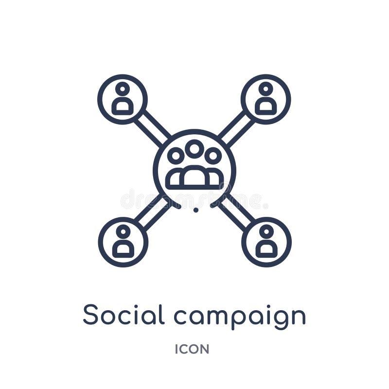 Icône sociale linéaire de campagne de collection d'ensemble général Ligne mince icône sociale de campagne d'isolement sur le fond illustration libre de droits