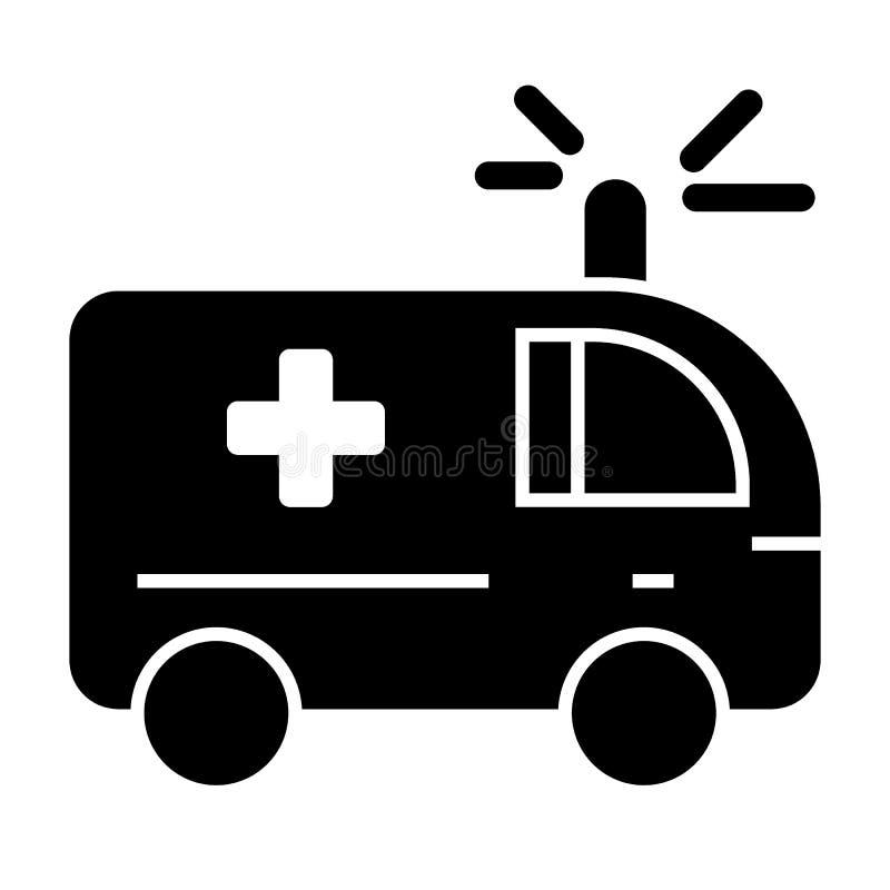 Icône solide d'ambulance Illustration médicale de vecteur de voiture d'isolement sur le blanc Conception automatique de style de  illustration de vecteur