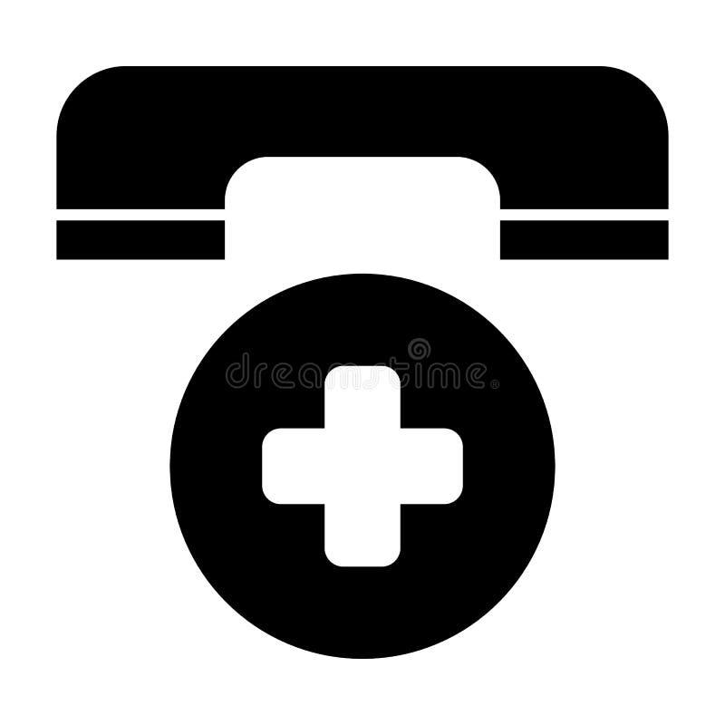 Icône solide d'appel d'urgence Illustration de vecteur de symbole de téléphone d'ambulance d'isolement sur le blanc Téléphone et  illustration stock