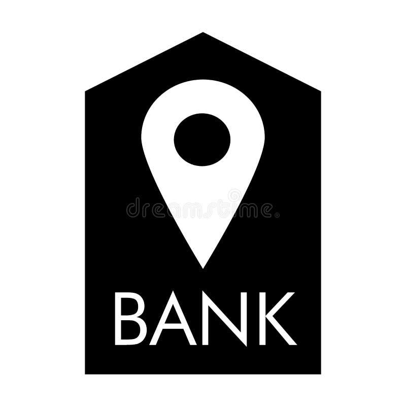 Icône solide de banque d'emplacement Buildind de banque et illustration de vecteur de goupille d'isolement sur le blanc Style de  illustration libre de droits
