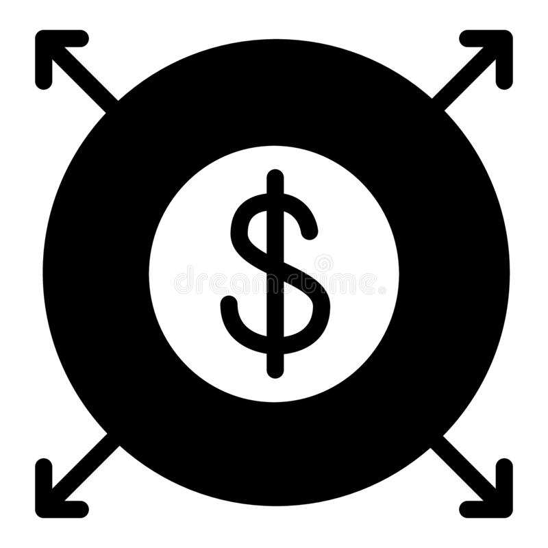 Icône solide de distribution du dollar La diffusion de finances a reçu l'illustration de vecteur d'isolement sur le blanc Concept illustration de vecteur