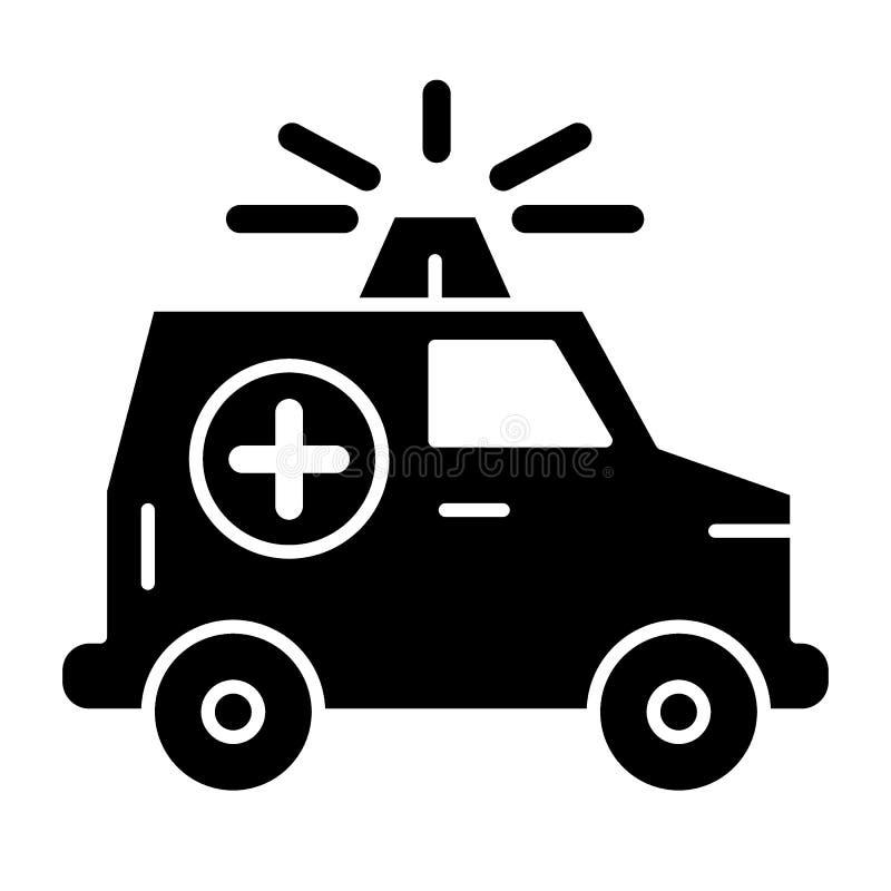 Icône solide de voiture d'ambulance Voiture médicale avec l'illustration de vecteur de bateau d'isolement sur le blanc Conception illustration de vecteur