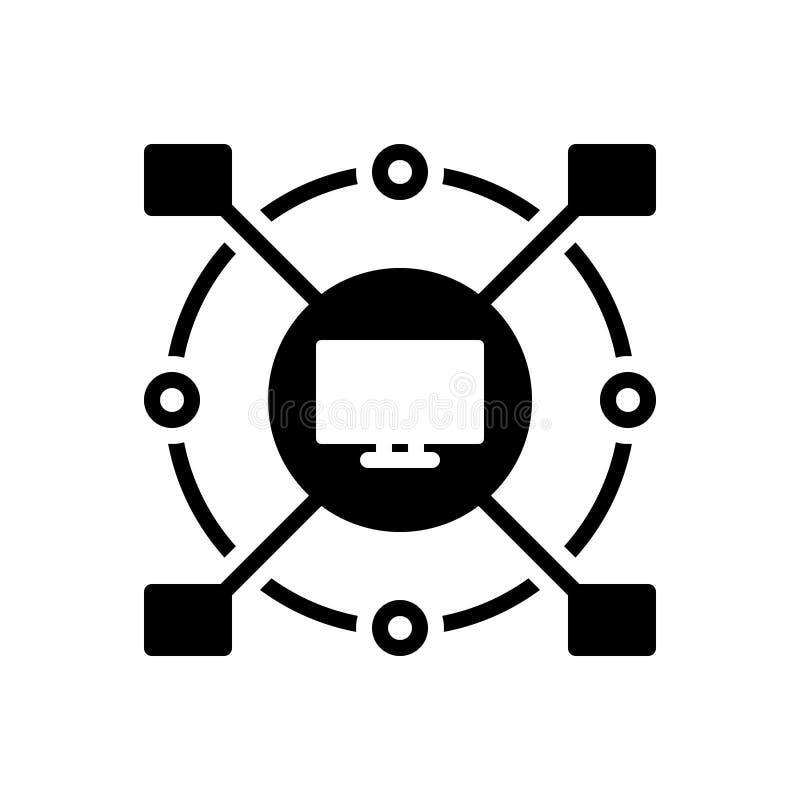 Icône solide noire pour automatisé, cyber et moniteur illustration libre de droits