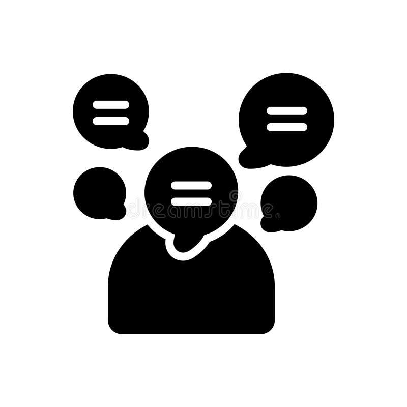 Icône solide noire pour bavard, bavard et volubile illustration stock