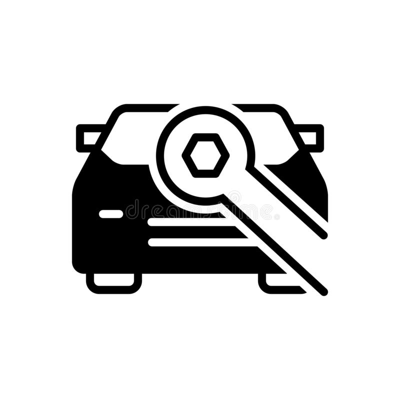 Icône solide noire pour Carrepair, voiture et réparation illustration stock