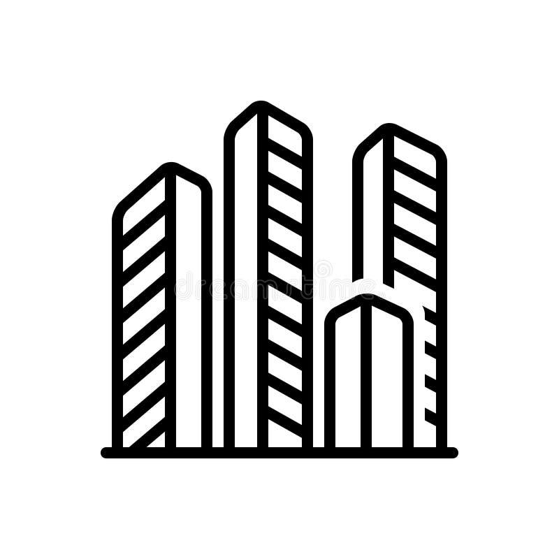 Icône solide noire pour Compenies, bureaux et propriété illustration de vecteur