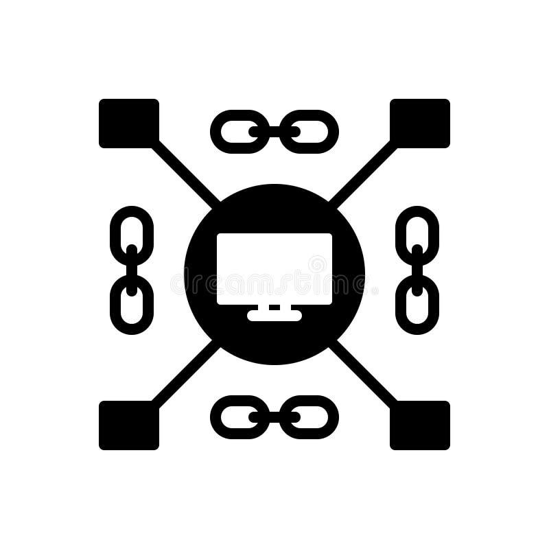 Icône solide noire pour enchaîné, classifié et groupé illustration stock