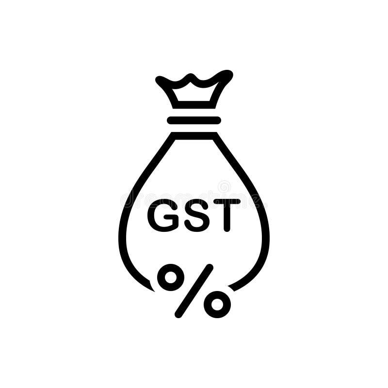 Icône solide noire pour Gst, exemption et économies illustration libre de droits