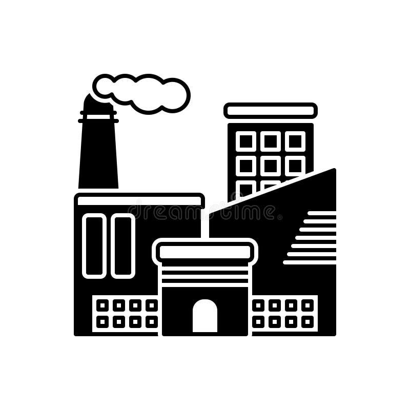 Ic?ne solide noire pour industriel, l'usine et la fabrication illustration libre de droits