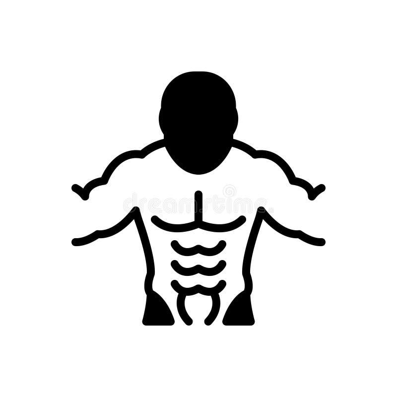 Icône solide noire pour l'ABS, les muscles et l'abdomen illustration libre de droits