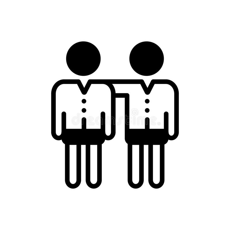 Icône solide noire pour l'ami, l'ami et le copain illustration stock
