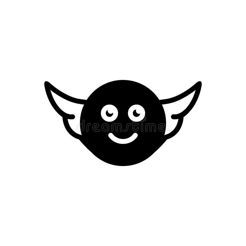 Ic?ne solide noire pour l'ange, le farishta et la volaille illustration stock
