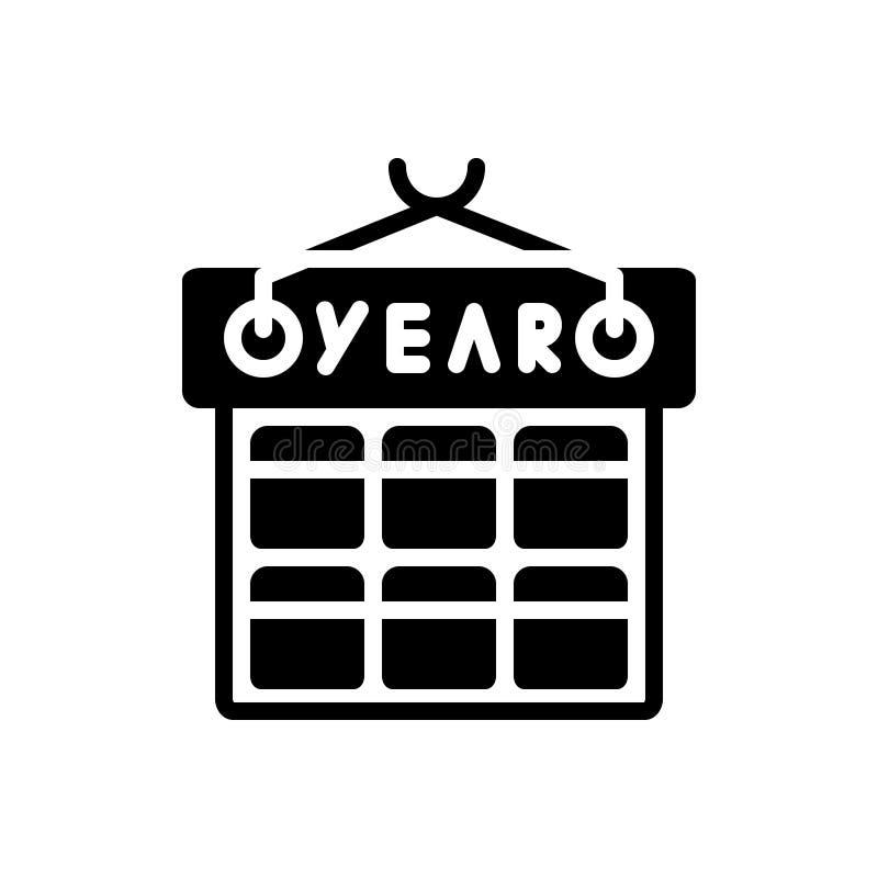Icône solide noire pour l'année, le mois et le calendrier illustration libre de droits