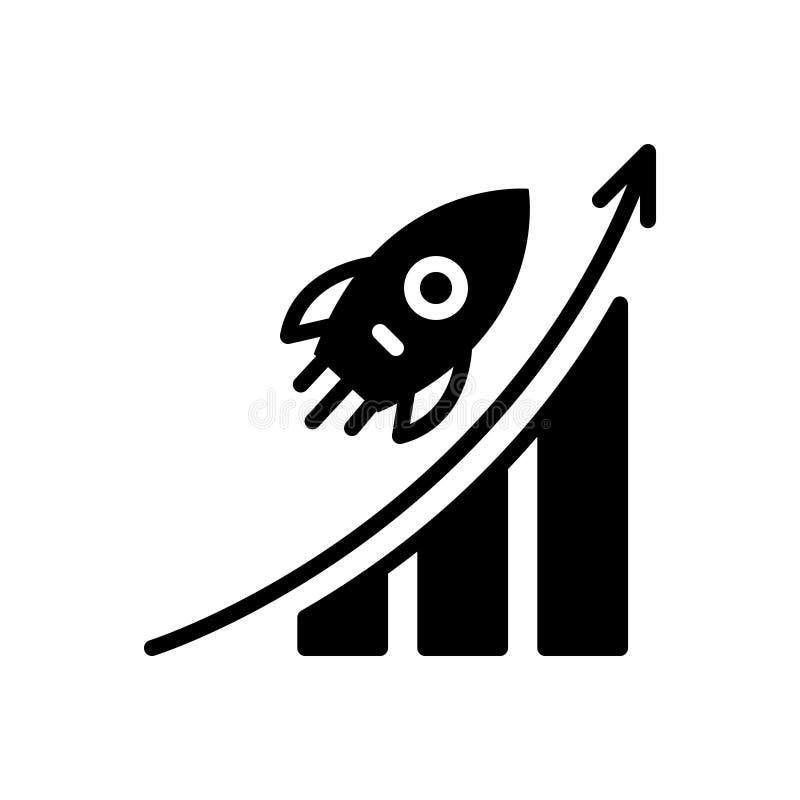 Icône solide noire pour l'avancement de carrière, la carrière et la promotion illustration stock