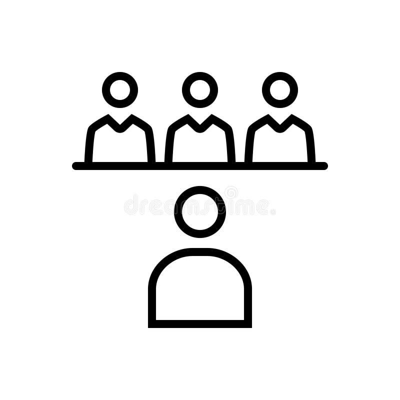 Icône solide noire pour l'entrevue, le demandeur et le stage illustration libre de droits
