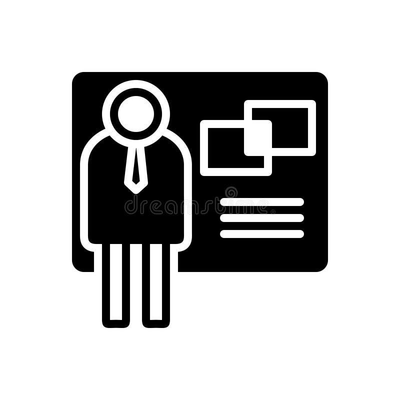 Icône solide noire pour l'exposant, la publicité et le démonstrateur illustration stock